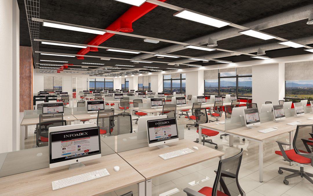 Infoadex se renueva y estrena unas oficinas modernas y for Imagenes de oficinas modernas pequenas
